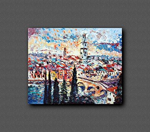 Im europäischen Stil Hand-Painted Retro Malerei, Ölgemälde, Tapeten, personalisierte Schlafzimmer, Wohnzimmer, Hintergrund, Wand, Tapete, abstrakte Blume Wandmalereien - VERONA AL TRAMONTO - 100x80cm - Weiß Verona-kunst