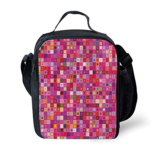 ZKHTO School Supplies Pink,Square Grid Mosaic Inspired Pattern Vibrant Colors Old Fashioned Geometric Tile Design Decorative,Multicolor for Girls or Boys Washable Palm Double Old Fashioned