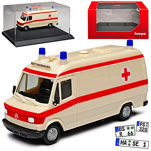Mercedes-Benz T1 207D Transporter Krankenwagen Rettungswagen 1977-1995 mit Sockel und Vitrine H0 1/87 Herpa Modell Auto