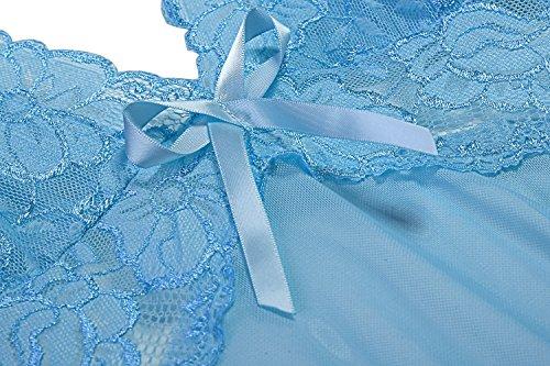 Avidlove Damen Sexy Spitze Halter Dessous Set Kreuz Rücken Transparent Babydoll mit Schleife A Blau
