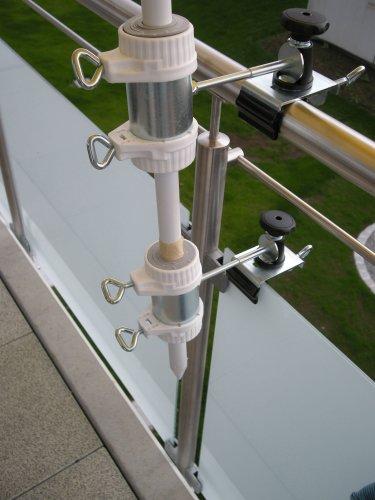 Balcon-support pour parapluie-bâtons de ø 25,5 à 40 mm-lot de 2-support jusqu'à 35 mm de diamètre-moyen-distance support de parasol pour balcon pour l'extérieur ou à l'intérieur pour fixer avec 11 cm de distance de holly breveté pour parapluie-fixation rond ou carré-éléments : env. 2 à 35 m avec support rotatif à 360° avec fixation pour gUMMISCHUTZKAPPEN kratzfreien pivotante à 360°-espacement plots support pour parapluie-bâtons de 25,5 à 45 mm ø 13 cm avec inscription profond de manche et bec long : 11 cm-distance filetage-innovation axe-fabriqué en allemagne-holly ® produits sTABIELO holly-- sunshade ® sCHIRMEN à sur - 2,5 cm de diamètre - 2 supports à 2 ou-te utiliser pour des raisons de sécurité (kabelbinder)