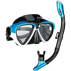 ASWiiiNDS antibuée Lot Full Dry Top Coque en Silicone Tuba Masque de plongée pour Adulte Jeunesse avec Support de caméra GoPro Taille Unique Bleu