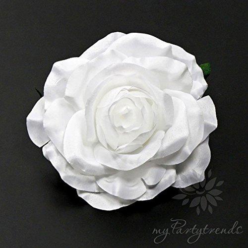 elegante Haarrose/Ansteckrose mit Satinglanz in weiß (Ø 10,5 cm; Höhe 5 cm) von myPartytrends. (weiße Hochzeitsrose, weiße Rose, weiße Haarrose)