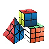ROXENDA Speed Cube Set, Magic Cube Set di 2x2x2 3x3x3 Piramide Cubo Liscio Puzzle Cube