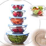Green Apple International Mixing Bowls Set with Blue Lid- Set of 5 Pcs Glass Food Storage Containers (Comes in 5 Different Size)