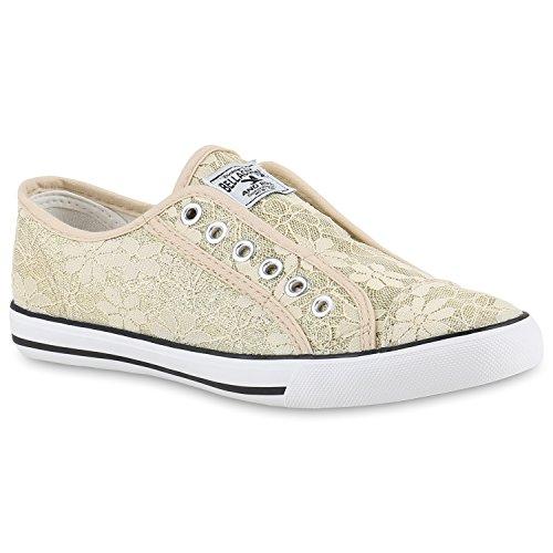 Damen Sneakers Slip-ons Sportliche Slipper Spitze Glitzer Schuhe Gold