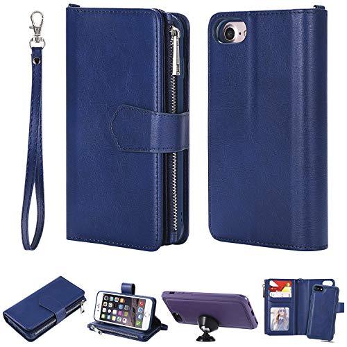 """FNBK Handyhülle für iPhone 6,iPhone 6S Case Hülle Blau, Brieftasche Lanyard Handtasche Leder hülle Wallet Flip Cover Stand Kartenfach Reißverschluss Magnet Schutzhülle für iPhone 6/iPhone 6S 4.7"""""""