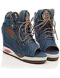 Zapatos de Mujer Personalidad de la Moda Dentro de Las tortas Sueltas Mayor Ocio Zapatos de Boca de Pescado de Encaje Informal Denim (Color : Blue, Tamaño : 37)