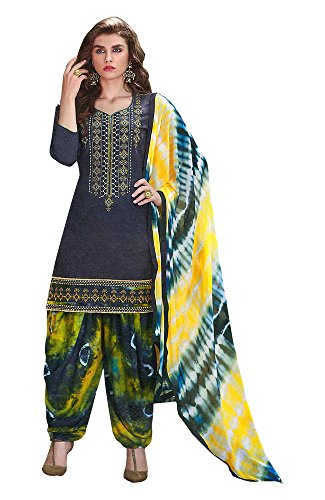 Kfashiondot_Patiala Suit Fabric Cotton (Unstitched Dress Material,Teal Blue & Multicolor)