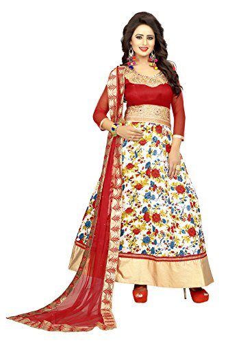 Trishulom Anarkali Suit - Semi Stitched Full Length Red Bhagalpuri Satin Silk Printed Suits For Women Beautiful Ethnic Suits For Festive Occasions Women Long Kurtis