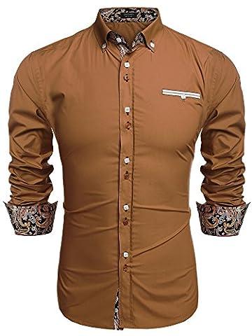 Coofandy Chemise Homme Manche Longue Coton de Marque Col Italien Boutonné Casual Mode Marron Taille XL