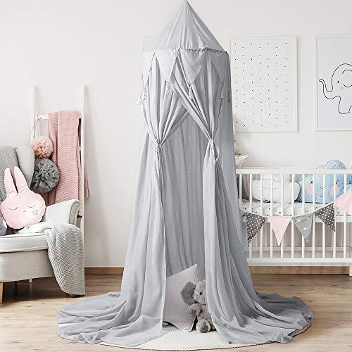 NIBESSER Baldachin für Kinder Baby Betthimmel Moskitonetz Moskitoschutz für Baby Prinzessin Spielzelte Schlafzimmer Dekoration (grau)
