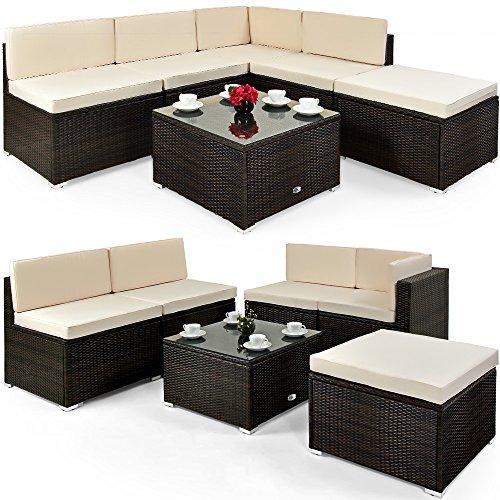 Deuba XXL Poly Rattan Lounge Set I 7cm Dicke Auflagen I Tisch Sicherheitsglas I Braun Sitzgruppe Gartenmöbel Garten Set