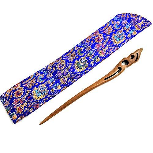 Haar Sticks Hand Geschnitztes Holz Haar Folk Haarspange für Frauen Mädchen Chinesische Vintage Stil Grün Sandelholz Haar Clips mit Seide Tasche 100% Handarbeit -