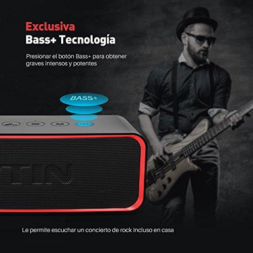 VTIN R2 Altavoz Bluetooth Inalámbrico Portátil con Bajo Adicional y Audio Clásico Bajo Exclusivo + Clasificación Impermeable IPX6 a Prueba de Golpes a Prueba de Arañazos para Hogar Fiesta Coche Viajes Playa Piscina.