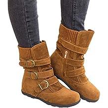 Fuxitoggo Zapatos ocasionales de las mujeres, nuevas mujeres de gamuza punta redonda con cremallera plana