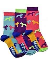 Die verrückten Hound Hund Socken für Mädchen im 3er Set