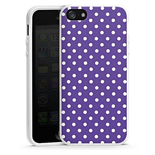 Apple iPhone 5s Housse Étui Protection Coque Petits points Motif Motif Housse en silicone blanc