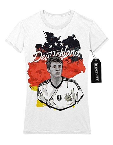 Lady T-Shirt Deutschland Thomas Müller Fußball EM Europa Meisterschaft UEFA Euro 2016 Trikot M161604 Weiß (Spieler Fußball Kostüm Kinder Für)