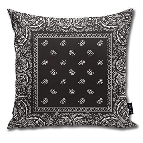 Bandana Kopfkissenbezug, Paisleymuster, dekorativ, für Zuhause, Couch oder Auto, 45,7 x 45,7 cm, Schwarz