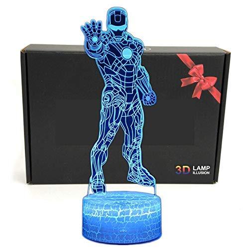 LED Superheld 3D-Lampe - Optische Illusion, intelligentes Nachtlicht, Tischlampe mit USB-Stromkabel, 7 Farben (Iron Man)