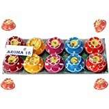Aroma18 Diya For Decoration | Diya For Puja | Diya Holder Decorative | Diya Lamps For Pooja | Diwali Gifts And Decoration | Diwali Diya Earthen Clay Diyas Aroma Flora Wax Lamp Handmade Premium Set Home Deco Hindu Pooja - Reusable (Set Of 10, Handmade Matk