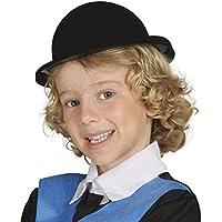 Guirca - Sombrero bombín flocado, para niños, color negro (13345)