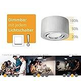 Flacher Aufbau LED Decken Spot schwenkbar & rund in Alu gebürstet inkl. fourSTEP LED-Modul 'Dimmen ohne Dimmer' - 5W warmweiß