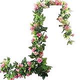 BlueXP 2 Pezzi 230cm Artificiale Ghirlanda Rose di Fiori di Finta Seta Appesa Rattan Ghirlanda Simulazione Pianta Rampicante per Casa di Nozze Giardino Recinzione Decorazione Della Rosa