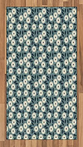 ABAKUHAUS Elfenbein und Blau Teppich, Romantische Blumen, Deko-Teppich Digitaldruck, Färben mit langfristigen Halt, 80 x 150 cm, Blaugrau Dunkelblau und Elfenbein - Elfenbein Blumen-bereich Teppich