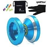 Autentica Magic Yoyo N8 Dare to Do professionale in alluminio palle yo-yo con il sacchetto e 5 corde e guanti, i bambini del giocattolo dei bambini della ragazza del ragazzo da regalo, Blu