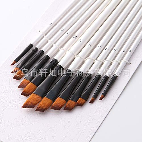 RONSHIN 12 stücke Nylon Haar Holzgriff Aquarell Pinsel Stift Set für Lernen Diy Öl Acrylmalerei Perlweißer Stab Schrägbürste -