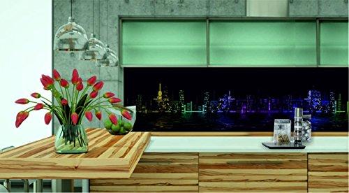 KÜCHENRÜCKWAND 360x50cm Folie selbstklebend City Skyline BuntKFS38