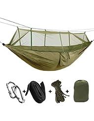 Sheny Ultra-light Hängematte Parachute Material für Outdoor / Camping ,Belastbarkeit bis 200 kg,260cm*140cm blau (Typ2 mit Moskitonetz Armee-Grün)