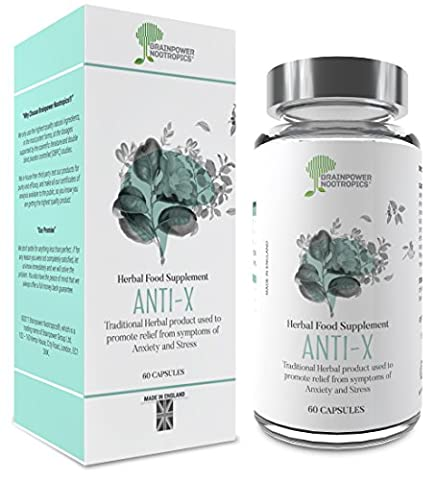Chamomile Anxiety Relief Supplement - Anti-X®, for Anti Anxiety and Stress Relief | Destress with Chamomile, 5HTP, & Tyrosine | For General and Social Anxiety, Exams, Job Interviews | Money Back Guarantee