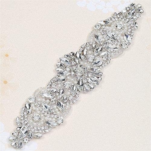 Bügeleisen auf Strass und Perle Braut Applique für Brautkleider Gürtel und Schärpen (Splitter) (Einfach Wortspiel Kostüme)