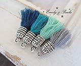 4 Quasten-Anhänger Muster Charm Set Hippie Boho BaumwollQuasten Petrol Blau Türkis
