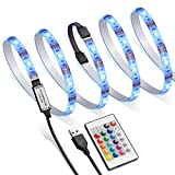 AMIR Ruban à LED RGB pour HDTV, 60 Bandes de LED RGB, 16 Couleurs, 4 Modes de Luminosité, USB Powered Imperméable Flexible Rétro-éclairage, Lampe à Rayons LED Multicolores avec Télécommande