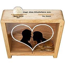 MAGISCHE GESCHENKBOX Lustige Spardose zur Hochzeit - Spruch-Spardose für Eheleute ALS Geldgeschenk – mit Herz Aufdruck - Hochzeitsgeschenk