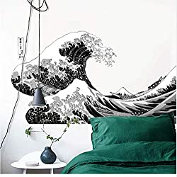 Pegatinas de pared. Great Wave of Kanagawa. Decoración moderna fractal para tu hogar. 50x90 cm.