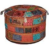 Asiento, 58 x 33cm, otomana con patchwork y bordados, vintage