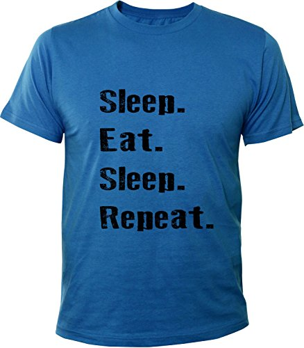 Mister Merchandise Herren Men T-Shirt Sleep Eat Sleep Repeat Tee Shirt bedruckt Royal