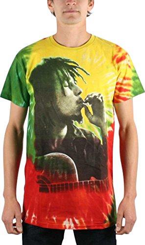 Bob Marley - Rasta Smoke Herren T-Shirt im Tie-Dye-, XX-Large, Tie Dye (T-shirt Rasta Dye Tie)