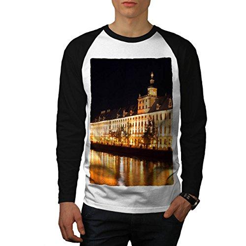 wellcoda Nacht Licht Gebäude Stadt Stadt Fluss Männer M Baseball LS T-Shirt (Fluss-baseball-jersey)