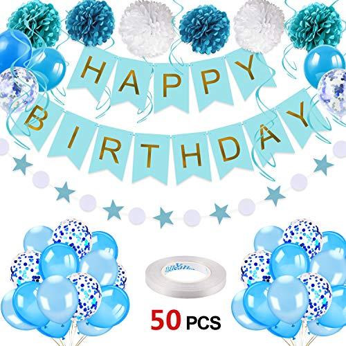 Howaf 50 Stück Geburtstagsdeko Jungen, Blau Happy Birthday Girlande Banner Pompoms Spiralen Luftballons Konfetti Ballons Set Kindergeburtstag deko Geburtstag Dekoration für Jungen Männer