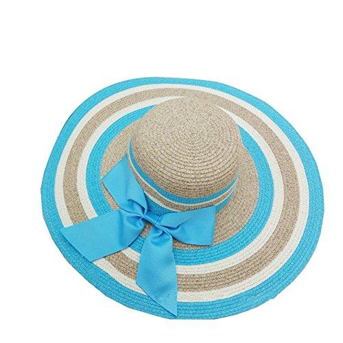 Surker 2016 Femmes Mode Bownot Straw Sun Hat Cap Beach Sun Visor Bleu