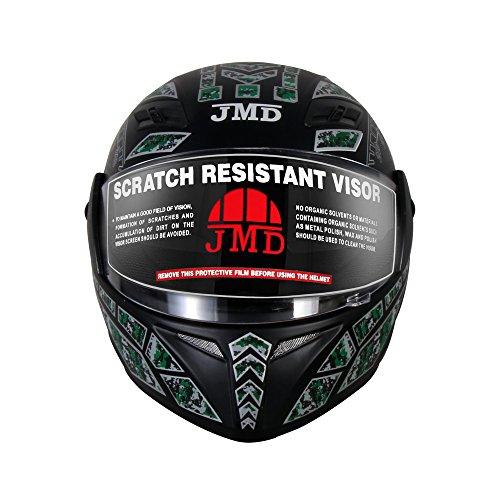 TRUSTY NEW DECOR Speedo Full Face Helmet(L)(Matt Black Finish With Green-Blue Graphic)