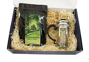 """Kaffee Geschenk Set """" Brasilien Dreams II"""" 250 g Brasilien Kaffee gemahlen mit Stempelkanne für die optimale Zubereitung als Weihnachtsgeschenk (100g/6,36€)"""