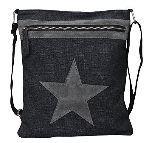 PiriModa Damen Stern Handtasche Schultasche Clutch TOP TREND Tragetasche (Modell 4 Schwarz/Grau)