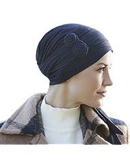 Pañuelo Asana azul jaspeado con lazadas largas multiposición en bambú ultra suave para mujeres en quimioterapia